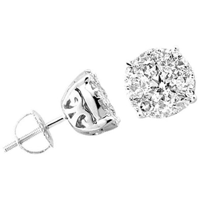 LADIES EARRINGS 1/2 CT ROUND DIAMOND 14K WHITE GOLD