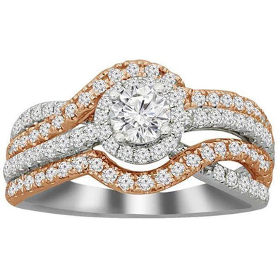 LADIES BRIDAL RING SET 1 CT CNTR-1/3 ROUND DIAMOND 14K TT WHITE/ROSE GOLD