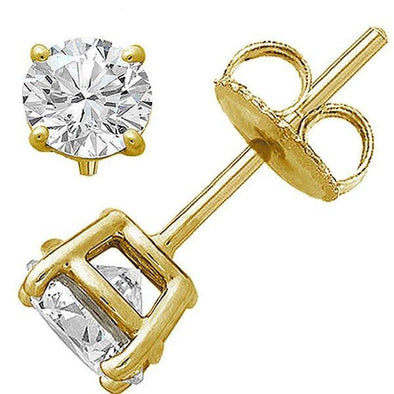 LADIES SOLITAIRE EARRINGS 1/3 CT ROUND DIAMOND 14K YELLOW GOLD