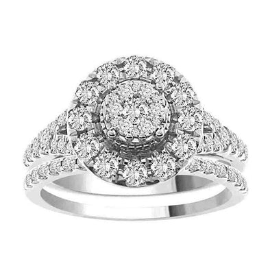 LADIES BRIDAL RING SET 1 1/4 CT ROUND DIAMOND 14K WHITE GOLD