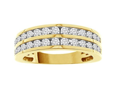 LADIES BAND 1 CT ROUND DIAMOND 14K YELLOW GOLD