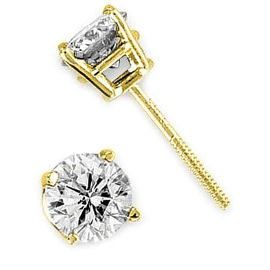 LADIES EARRINGS 3/4 CT ROUND DIAMOND 14K YELLOW GOLD