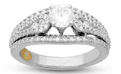 LADIES BRIDAL RING SET 1 1/2 CT ROUND DIAMOND 14K WHITE GOLD