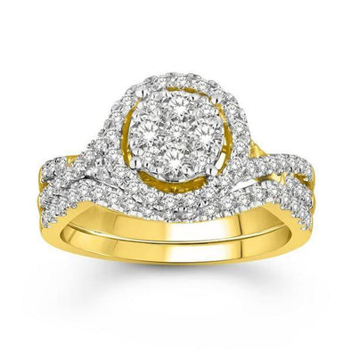LADIES BRIDAL RING SET 1 CT ROUND DIAMOND 14K YELLOW GOLD