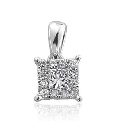 LADIES PENDANT 1/2 CT ROUND/PRINCESS DIAMOND 14K WHITE GOLD
