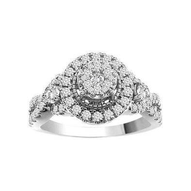 LADIES RING 1 CT ROUND DIAMOND 14K WHITE GOLD