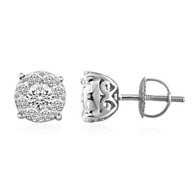 LADIES EARRINGS 1 CT ROUND DIAMOND 14K WHITE GOLD