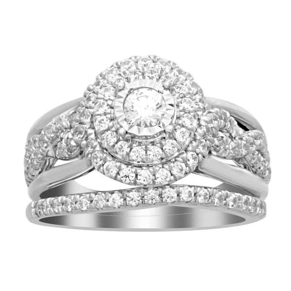 LADIES BRIDAL RING SET 1 CT ROUND DIAMOND 14K WHITE GOLD