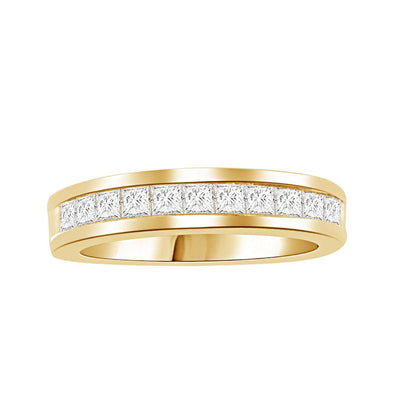 LADIES BAND 1/3 CT PRINCESS DIAMOND 10K YELLOW GOLD