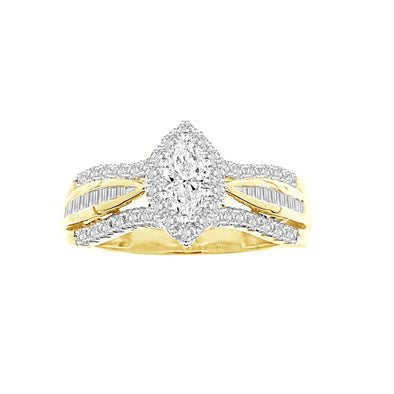 LADIES RING 3/4 CT MARQUISE/BAGUETTE/ROUND DIAMOND 14K YELLOW GOLD