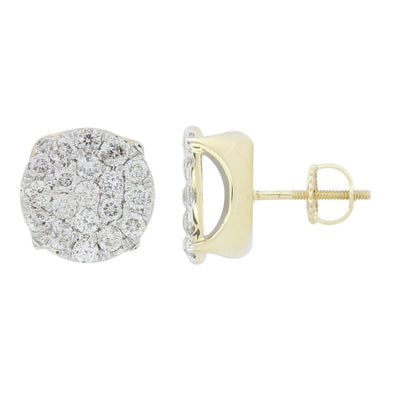 MEN'S EARRINGS 3/4 CT ROUND DIAMOND 10K YELLOW GOLD