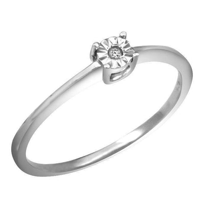 LADIES RING 0.01 CT ROUND DIAMONDSILVER