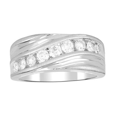 MEN'S RING 1 CT ROUND DIAMOND 10K WHITE GOLD