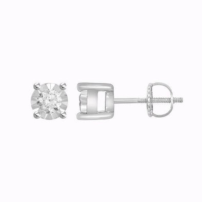 LADIES EARRINGS 1/10 CT ROUND DIAMOND SILVER WHITE