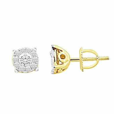 LADIES EARRINGS 1/4 CT ROUND DIAMOND 14K YELLOW GOLD