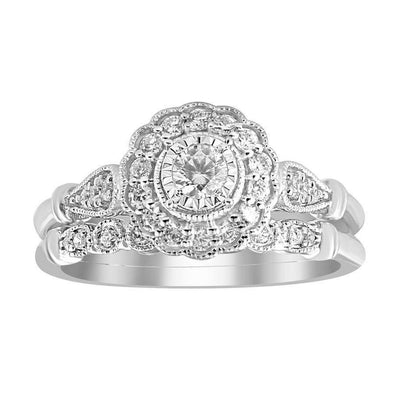 LADIES BRIDAL RING SET 1/2 CT ROUND DIAMOND 14K WHITE GOLD