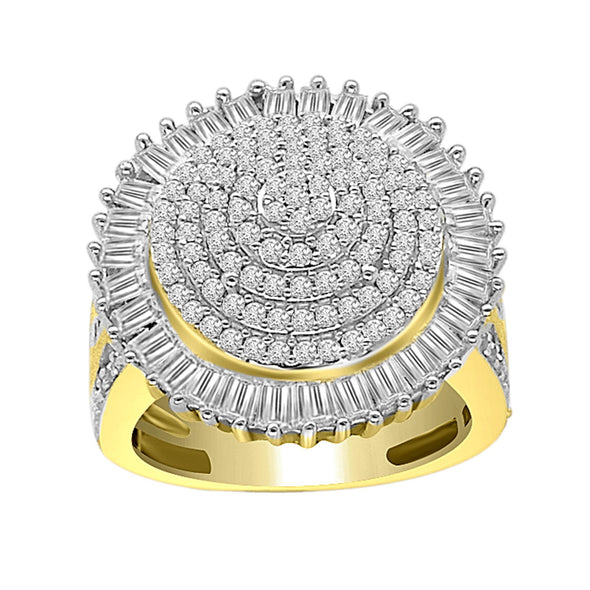 LADIES RING 2 CT ROUND/BAGUETTE DIAMOND 10K YELLOW GOLD