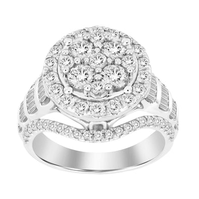 LADIES RING 2 CT ROUND/BAGUETTE DIAMOND 10K WHITE GOLD