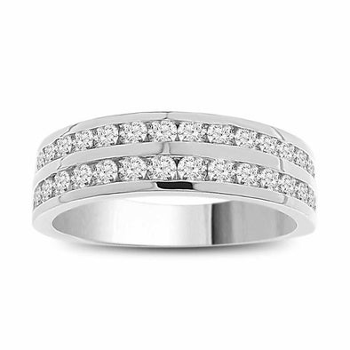 LADIES BAND 1 CT ROUND DIAMOND 14K WHITE GOLD