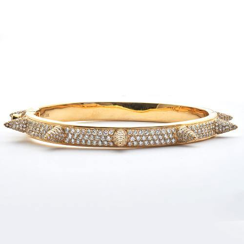 10KY 7.75CTW DIAMOND SPIKE BANGLE