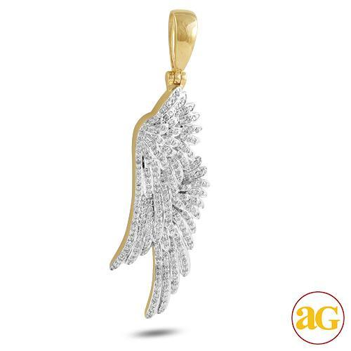 10KY 1.00CTW DIAMOND DOUBLE ANGEL WING PENDANT