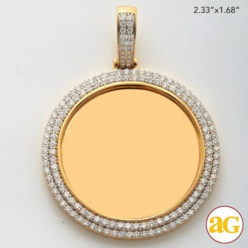 14KY 3.00CTW DIAMOND MEMORY PENDANT - 2 ROW BORDER