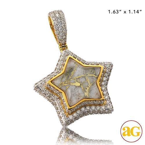 10KY 3.60CTW DIAMOND AND GOLD QUARTZ STAR PENDANT