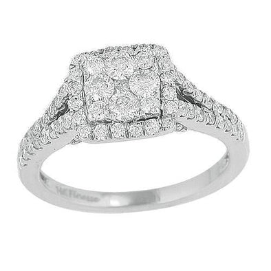14KW 1.25CTW DIAMOND CLUSTER RING
