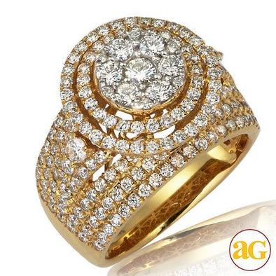 14KY 2.50CTW DIAMOND ROUND CLUSTER RING WITH DOUBL