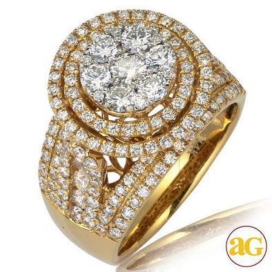 14KY 2.50CTW DIAMOND ROUND CLUSTER RING WITH