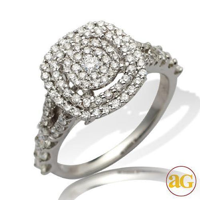 14KW 1.05CTW DIAMOND ROUND CLUSTER RING - DOUBLE S