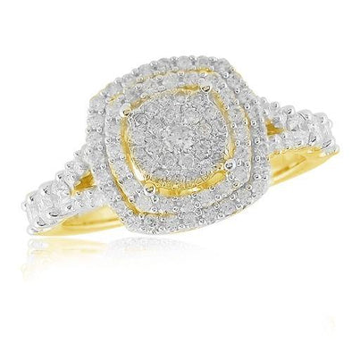 14KY 1.00CTW DIAMOND CLUSTER RING