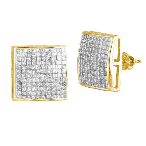 14KY 2.25CTW PC DIAMOND SQUARE DOME EARRINGS