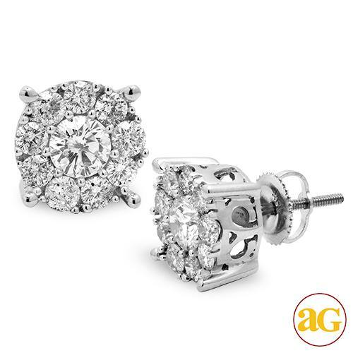 14KW 2.00CTW DIAMOND FLEUR STUD EARRINGS
