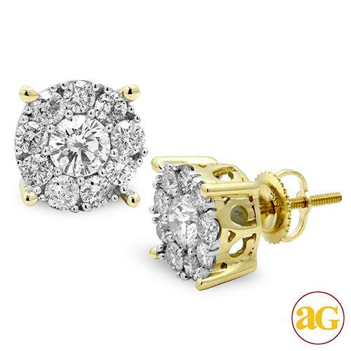 14KY 2.00CTW DIAMOND FLUER STUD EARRINGS