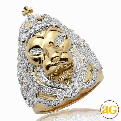 14KY 1.60CTW DIAMOND LION WITH CROWN MENS RING