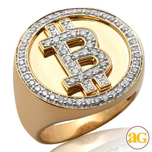 10KY 0.85CTW DIAMOND 'BITCOIN' MENS RING