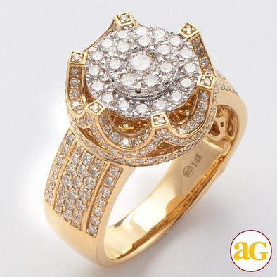 14KY 2.00CTW DIAMOND MENS CROWN CLUSTER RING