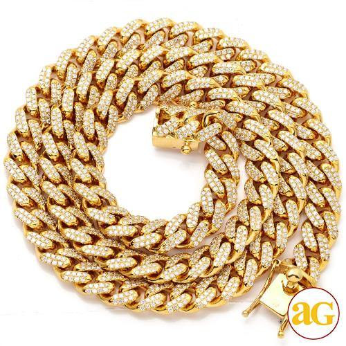 10KY 13.30CTW DIAMOND SOLID MIAMI CUBAN CHAIN - 24