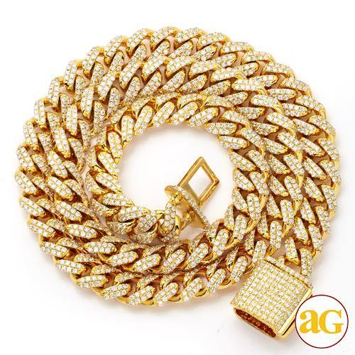 14KY 6.98CTW DIAMOND SOLID MIAMI CUBAN CHAIN - DIA