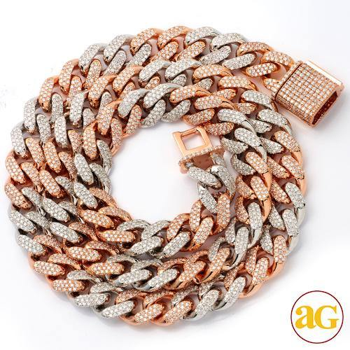 14KW+R 12.20CTW DIAMOND SOLID MIAMI CUBAN CHAIN -
