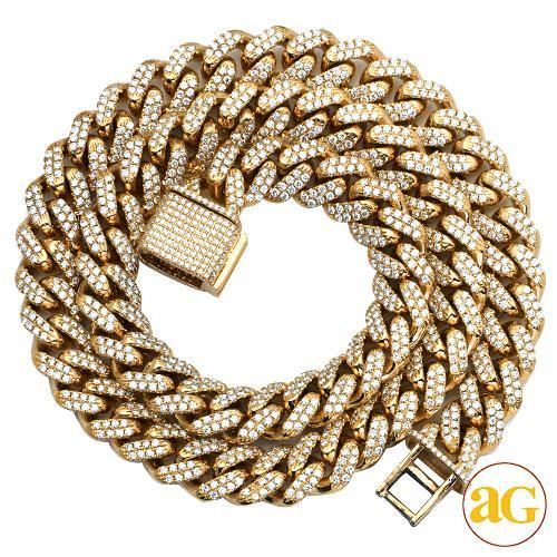 10KY 16.66CTW DIAMOND FIGARO CHAIN - 12MM  22""