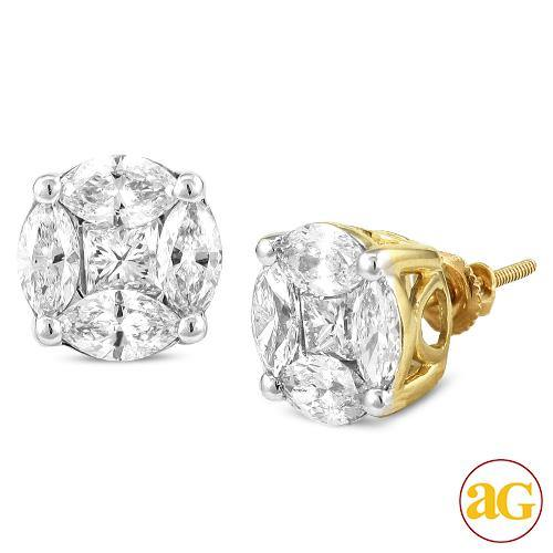 14KY 3.00CTW DIAMOND PIE CUT EARRING STUDS