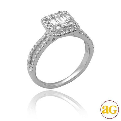 14KW 0.75CTW BAGUETTE DIAMOND RING - SQUARE HALO -