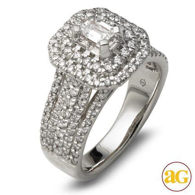 14KW 1.50CTW BAGUETTE DIAMOND RING - DOUBLE EMERAL