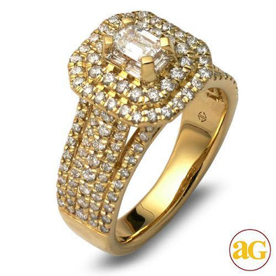 14KY 1.50CTW BAGUETTE DIAMOND RING - DOUBLE EMERAL