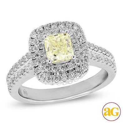14KW 0.65CTW DOUBLE HALO RING W/ 1CT+ CUSHION CENT