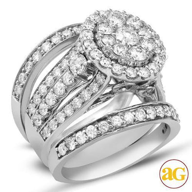 14KW 3.00CTW CLUSTER DIAMOND 3-RING BRIDAL SET