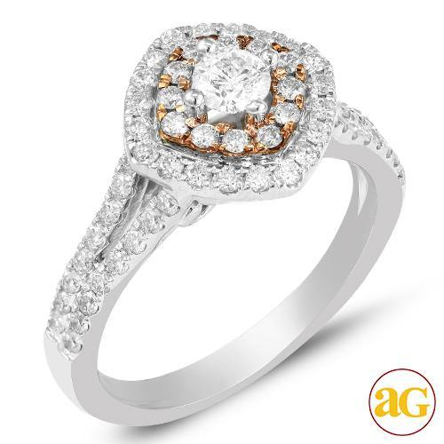 14KW+R 1.00CTW DIAMOND RING WITH PINK BASKET [0.24