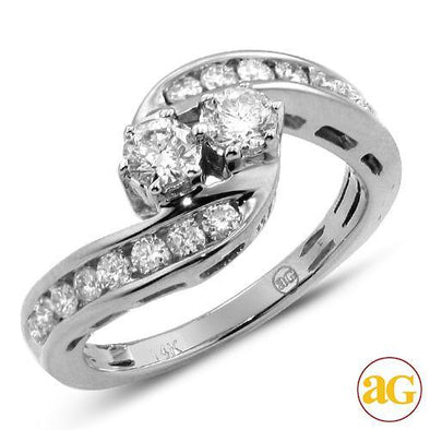 14KW 1.00CTW DIAMOND TWO STONE RING [0.25CT CTRS]